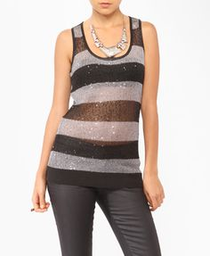Sequined Striped Sweater Tunic $22.80 (Forever 21)