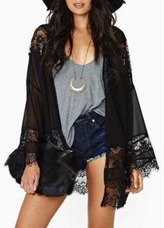 Stylish Solid Black Long Sleeve Cardigans for Woman