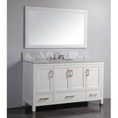 Abbey 60 Inch Single Bathroom Vanity (Carrara/White): Includes White Shaker  Style Cabinet With Soft Close Drawers U0026 Doors, Italian Carrara Marble Tu2026 ...