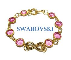 Use code SOCIAL15 for 15% off all purchases over $15, plus FREE shipping on most jewelry! Infinity Swarovski crystal bracelet, pink crystal bracelet, faceted crystals link bracelet with infinity focal, easy hook latch, gold tone.  Infinity link can be replaced, ... #etsygifts #vintage #vjse2 #jewelry #gift