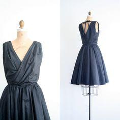 販売  1960 年代は少しブラック ドレス  休日のカクテル パーティー/ブラック タフタ  50 by AgeofMint