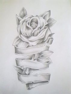 Rose Drawing Rose Tattoo Drawing by =Anako-Kitsune on deviantART. this would be cute if it was wrapped around a leg or arm or something. Dad Tattoos, Forearm Tattoos, Body Art Tattoos, Tattoo Drawings, Sleeve Tattoos, Rose Drawings, Rip Tattoos For Mom, Tatoos, Mother Tattoos