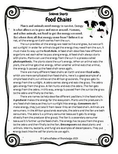 This easy to read, one page passage all about food chains is perfect for science. It includes 10 multiple choice reading comprehension questions and an answer key. Reading Comprehension Strategies, Comprehension Questions, Reading Passages, Nature Poems For Kids, Reading Quotes, Reading Tips, Middle School English, Word Families, Word Problems