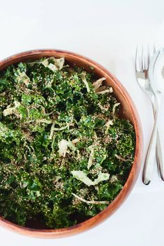 5 Lip-Smackin' Dishes To Whip Up, NOW  #refinery29 Kale Salad with Spicy Almond Dressing