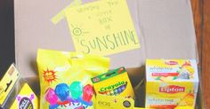 """Several weeks ago, I compiled little """"Boxes of Sunshine"""" for two very special people. I want to share what I included in case you have som..."""