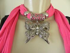New Womens Pendant Scarf Necklace Jewelry Choker Bling Butterfly Pink Scarf
