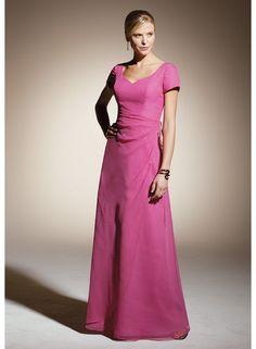 Short sleeve V-neck Sheath Empire Watteau Train Wedding Dresses WE0917