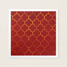 Fiery Red Gold Royal Indian Arabian Theme Moroccan Napkin - decor gifts diy home & living cyo giftidea