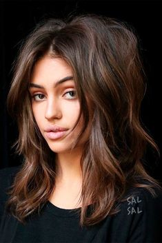 ❤ Look through our hairstyles for shoulder length layered hair and get inspired to style your own hair. Find your universal hairstyle for any occasion. Brown Middle Parted Layered Haircuts Layered Haircuts Shoulder Length, Medium Length Hair With Layers, Lob Layered Haircut, Choppy Layers For Long Hair, Brown Shoulder Length Hair, Long Shag Haircut, Cool Haircuts, Cool Hairstyles, Hairstyles Haircuts