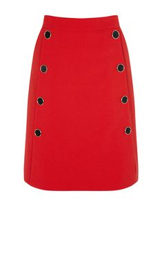 RED BUTTON A-LINE SKIRT