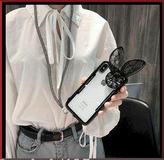 Cute Luxury Rabbit Ear Ariana Grande Style Diamond Glitter Silicone Transparent Designer iPhone Case With Lanyard mk airpod case Iphone 7, Supreme Case, Silicone Iphone Cases, Apple Laptop, Diamond Glitter, Rabbit Ears, Airpod Case, Monogram Styles, Iphone Models