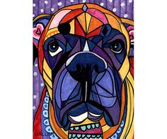 Free Shipping - Boxer art Art Print Poster by Heather Galler - Angel of the Day Passed Pet Sir Weezy (HG209)