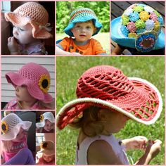 Crochet Sun Hats free pattern wonderfuldiy 8 Inspiring Crochet Sun Hat Designs Free Patterns and Guides Crochet Diy, Crochet Girls, Crochet For Kids, Crochet Summer, Sombrero A Crochet, Crochet Beanie, Crochet Hats, Baby Kind, Crochet Slippers