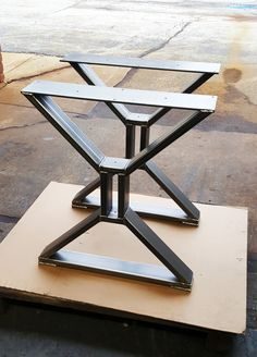 "Modern, Dining Table ""X"" Legs, Heavy Duty Metal Legs, Industrial Legs from 3"" x 1"" Tubing and 1/4 x 5"" Mounting flat on top"