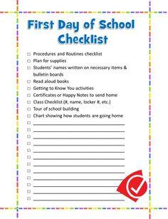 First day of school checklist by JustLisa