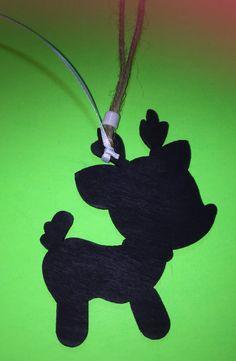 Reindeer Chalkboard Christmas Ornament Or by OldCrowsTreasures247