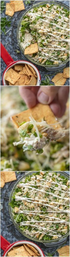 This CHOPPED CHICKEN CAESAR SALAD DIP is the ultimate fun and easy appetizer! We make this for tailgating, bbqs, potlucks, and more! Loaded with crisp lettuce, sour cream, caesar dressing, chicken, parmesan, croutons, and more! via @beckygallhardin