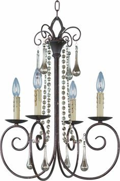 Adriana 4-Light Chandelier W Crystals 22204 Early American. Description Physical Specifications Electrical Specifications The Adriana-Single-Tier Chandelier #22204, is a early american style, 4-light Hanging Chandelier with a traditional, rustic, candle, french country style influence, infused into its lighting decor. material. About The Adriana Hanging Chandelier Collection... Simple elegance adorns the Adriana collection as strings of cognac colored crystal gently cascade from a graceful…
