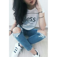 Simplicity lover...♥ White t-shirt blue jeans and adidas superstar!