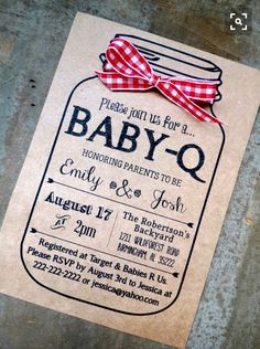 BABY-Q Baby Shower Invitation and Envelopes: Kraft Brown Bag Rustic Gender Reveal Mason Jar Ribbon Bow. Cute idea for baby shower invites Baby Q Shower, Fiesta Baby Shower, Shower Bebe, Baby Shower Gender Reveal, Baby Shower Games, Baby Shower Parties, Baby Shower Barbeque, Baby Gender, Gender Party
