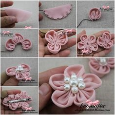 DIY Pretty Fabric Flower Hair Clip | iCreativeIdeas.com Follow Us on Facebook --> https://www.facebook.com/icreativeideas