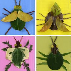 Make nature art bugs from leaves and twigs. They really pop on bright painted backgrounds made from recycled cardboard and make a fun wall art idea idea the world training craft craft diy craft for kids craft no sew craft to sale Kids Craft Box, Animal Crafts For Kids, Easy Crafts For Kids, Summer Crafts, Art For Kids, Kids Fun, Insect Crafts, Bug Crafts, Insect Art