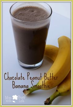 Chocolate Peanut Butter Banana Smoothie Recipe #smoothies #chocolate
