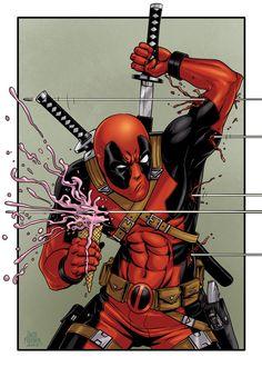 """zachfischerart 10 x 14"""" full color matte print of Deadpool from Marvel Comics."""