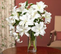 Casa Blanca Lily Bouquet with Vase - White Flower Farm White Lily Bouquet, White Lilies, Casablanca, 30th Anniversary Gifts, White Flower Farm, White Flowers, Oriental Lily, Vase Arrangements, Clear Glass Vases