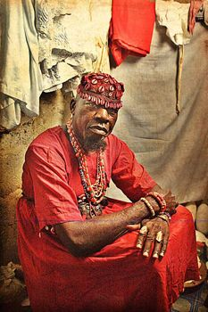 "Adolphus Opara, ""Orisa Sanpanaa [diety of measles] - Chief Bolanle,"" 2009. C Print. Courtesy of the artist."