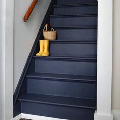 Navy Exceptional Painted Stairs Ideas You are in the right place about wooden Stairs Here we offer you the most beautiful pictures about the Stairs drawing you are looking for. Basement Stairs, House Stairs, Basement Bathroom, Flooring For Stairs, Entry Stairs, Upstairs Hallway, Walkout Basement, Stairs Colours, Architecture Restaurant