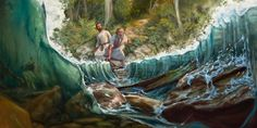 2 Kings 2:8 - Elisha watches Elijah divide the waters of the Jordan River by striking them with his official garment
