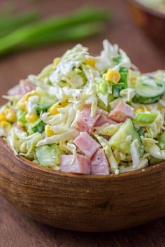 CABBAGE & HAM SALAD Made with fresh cabbage, cucumbers, ham, corn and scallions, this tasty and crunchy Cabbage and Ham Salad is packed with vitamins and makes a quick lunch or side dish. Cabbage Health Benefits, Ham And Cabbage, Cooked Cabbage, Cabbage Slaw, Cabbage Salad Recipes, Vegan Recipes, Cooking Recipes, Healthy Vegetables, How To Make Salad