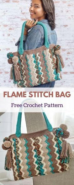 "This crocheted bag features a chevron or ""flame"" pattern that is playful while having a sophisticated look. The optional pompoms and tassels give it a boho, on-trend vibe.  #freecrochetpattern #freecrochet #crochet3 #easycrochet #patterncrochet #crochettricks #crochetitems #crocheton #thingstocrochet"