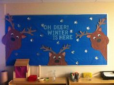 """Oh Deer, Winter Is Here!"" Winter Themed Bulletin Board Idea ""Oh Deer, Winter is Here!"" --- Perfect bulletin board with January (and even more ideas at the bottom for the winter months! Bulletin Board Paper, Christmas Bulletin Boards, Winter Bulletin Boards, Preschool Bulletin Boards, Bulletin Board Display, Winter Bulliten Board Ideas, Thanksgiving Bulletin Boards, Bullentin Boards, February Bulletin Board Ideas"