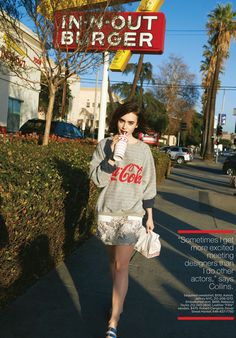 Lily Collins for Lucky Magazine Lily Collins, Sandra Bullock, In And Out Burger, Pictures Of Lily, Girl Crushes, Editorial Fashion, Celebrity Style, Fashion Photography, Street Style