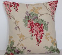 """Laura Ashley Wisteria Cranberry Floral 16"""" Cushion Cover 