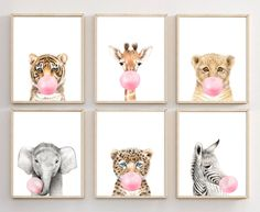 Animal Bubble Gum Wall Art Set of 6 Safari Nursery Decor Kids Girl Nursery Safari Animal Print Safari Nursery Prints Animals Printable - My best wallpaper list Safari Nursery, Nursery Prints, Nursery Wall Art, Nursery Decor, Animal Print Nursery, Baby Girl Nursery Wallpaper, Girl Wallpaper, Kindergarten Wallpaper, Blowing Bubble Gum