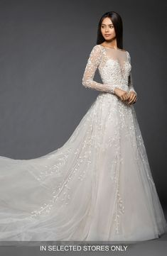 Free shipping and returns on Lazaro Isabel Long Sleeve Beaded Tulle  amp   Chiffon Gown at 8f27d2a9865c