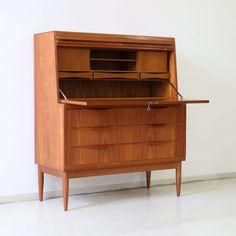 60er-ERLING-TORVITS-Teak-SEKRETAR-Kommode-60s-WRITING-CABINET-Vintage-CHATOL
