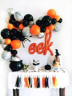 DIY Halloween Balloon Garland Kit Halloween Backdrop Set Halloween party decor that is spook-tacular! Festive Halloween decorations for a fun filled party. Halloween balloons, party supplies, cake toppers, balloon garlands, and more! Halloween Backdrop, Halloween Balloons, Halloween Table Decorations, Halloween Party Decor, Halloween Birthday Parties, Halloween Housewarming Party, Diy Halloween Garland, Halloween Dessert Table, Hallowen Party