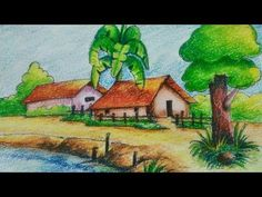 Oil Pastel Paintings, Oil Pastel Art, Oil Pastel Drawings, Indian Art Paintings, Oil Pastels, Beautiful Scenery Drawing, Easy Scenery Drawing, Art Drawings For Kids, Drawing For Kids