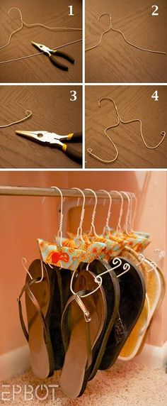 Adorable Hanger Hack for Sandal Storage