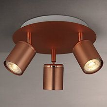 Buy John Lewis & Partners Mode LED Spotlight Plate, 3 Light, Copper from our Ceiling Lighting range at John Lewis & Partners. Free Delivery on orders over Bedroom Lighting, Home Lighting, Kitchen Lighting, Lighting Ideas, Ceiling Spotlights, Ceiling Lights, Copper Ceiling, Living Room Light Fixtures, Furniture