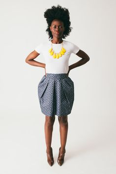 The Nia - African Print 100% Cotton Tulip Pleated-front Skirt