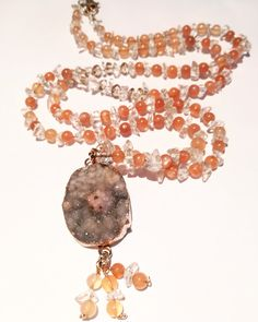 Gemstone necklace, Long necklace, Beaded necklace, Peach Moonstone necklace, Crystal Quartz necklace, Druzy pendant, Necklace with pendant.