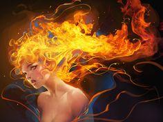 """""""Fire Vampire"""" by sakimichan.deviantart.com on @deviantART"""