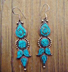 Antique Tibetan Tribal Turquoise earrings Tibetan by ZamarutJewel