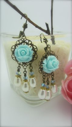 VICTORIAN FALLS  Turquoise Rose Cabochon/Pale by NoisyButterfly, $24.50