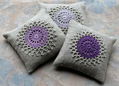 crochted lavendar sachets